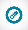 tv remote icon bold blue circle border vector image