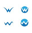 w letter water wave logo template vector image vector image