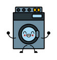 washer machine appliance cute kawaii cartoon vector image