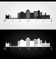 wichita usa skyline and landmarks silhouette vector image vector image