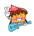 with guitar sponge cake mascot cartoon vector image vector image