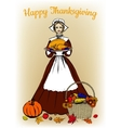 woman in traditional costume holding tray with vector image vector image