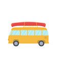 yellow bus for camping and travel with canoe on vector image vector image