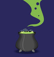 color witch pot with potion in cartoon style vector image