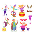 funny clowns characters and different circus vector image