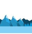 landscpae natural peak mountains snow tree pine vector image