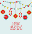 merry christmas and happy new year santa with tree vector image