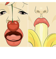a girls with cherry and banana vector image vector image
