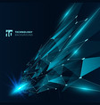 abstract technology blue color triangles vector image vector image