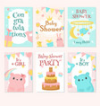 baby shower invitation template set vector image vector image