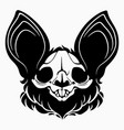 bat skull with black hair and big ears vector image vector image
