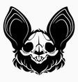 bat skull with black hair and big ears vector image