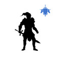 black silhouette of medieval knight vector image vector image