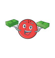bowling ball character cartoon with money vector image vector image