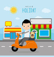 boy ride a bike with dog at street road vector image