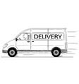 cartoon of fast driving generic delivery van vector image vector image