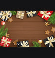 christmas frame with copy space for text on brown vector image vector image