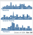 cities usa - yonkers grand prairie tacoma vector image vector image