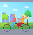 couple riding double bicycle in summer park vector image