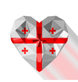 crystal gem jewelry heart with the flag of Georgia vector image vector image