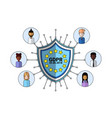 data safety shield support agent icon over general vector image