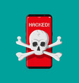 death skull and crossbones on smatphone screen vector image vector image