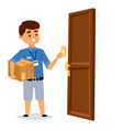 delivery man boy service workers and vector image