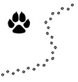 dogs paw pet footprint flat icon isolated vector image