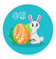 easter eggs and cute white bunny with big eyes vector image
