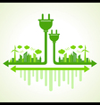 Ecology concept with electric plug vector image vector image