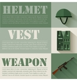 flat military soldier equipment set design concept vector image vector image