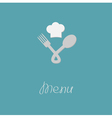Fork spoon node and chef hat menu card Flat design vector image vector image