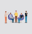 group of men using technology in the livingroom vector image vector image