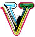 Grunge colorful font Letter v vector image vector image