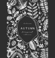 hand sketched autumn leaves design on chalkboard vector image vector image
