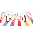hands holding phones with empty screens cartoon vector image