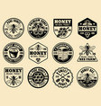 honey monochrome badges emblems labels vector image vector image