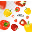 isolated flying vegetables falling sweet red and vector image
