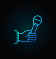 microphone in hand blue concept icon vector image