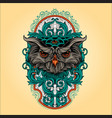 owl head with frame vintage ornaments vector image vector image