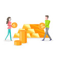 people investing money gold bars and coins vector image vector image