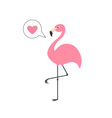 Pink flamingo on one leg Talk think bubble with vector image vector image