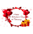 romantic wreath for saint valentine day wedding vector image
