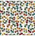 seamless pattern background with cartoon car vector image