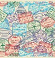 Seamless pattern with visa rubber stamps