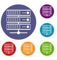 servers icons set vector image vector image