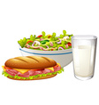 Set menu with sandwich and salad vector image