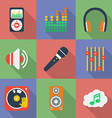 Set of icons of Music theme Modern flat style with vector image vector image