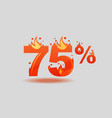 seventy five percent discount numbers on fire vector image vector image