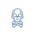 skull with bones line icon concept skull vector image vector image